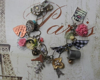 With Love from  Paris.vintage jewelry assemblage charm bracelet