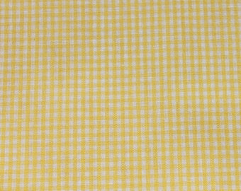 Vintage Gingham Yellow & White Fabric by the Yard, Cotton Tiny Squares, Apron Kitchen Sewing Quilting Summer Fabric BTY Yardage