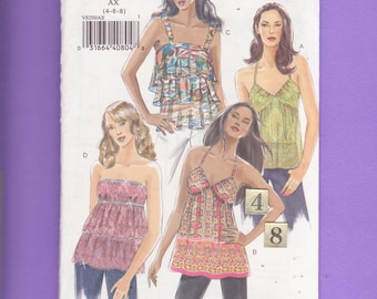 Loose, Tiered, Spaghetti Strap top Sewing Pattern/ Vogue 8250 Teen's Women's Empire Waist Ruffled, Summer halter top UnCut/ Size 4 6 8