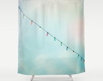 Whimsical shower curtain canrnival shower curtain vintage lights bathroom decor  blue skies whimsical bathroom decor childrens bath