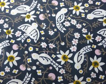 1/2 Yard Organic Cotton Fabric - Birch Fabrics Folkland - Sweet Tweet Dusk Birds