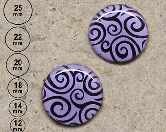 2 cabochons spiral print, Parma 25 mm 22 mm-20 mm 18 mm 14 mm 12 mm