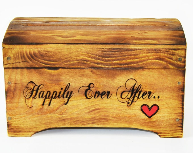 Medium 'Happily Ever After' Card Box for Wedding Cards in Rustic Brown Finish