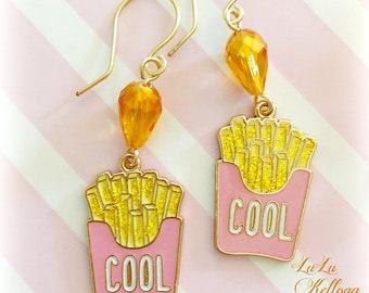 KITSCHY COOL FRIES Earrings, Whimsical Earrings, Pink Earrings
