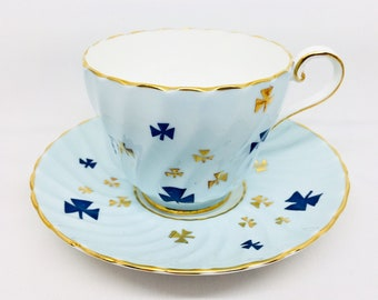 Aynsley Girl Guides Canada Special Edition Blue Trefoil Tea Cup and Saucer, Vintage Bone China