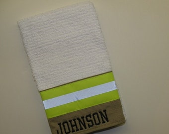 Firefighter Personalized kitchen Hand towel Tan
