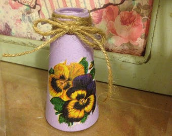 Cute little bud vase - glass bottle/painted/decoupage