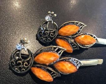 Vintage Burnt Orange Metal Hair Clips - Set of 2 - Top Moon