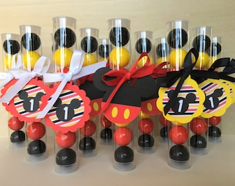 Classic Mickey Gumball Tube Party Favors / Supplies - Customizable Birthday Age - Set of 12 (Red, Yellow, Black)