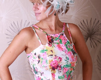 Ivory & Aqua Blue Feather Fascinator Hat- Headband or comb  Any colour can be ordered - Wedding,Bridal,Mother of the Bride,Tea Party,Ascot