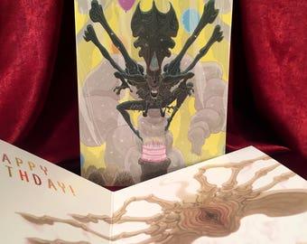 ALIENS Birthday Card with Queen XENOMORPH & FACEHUGGER!