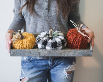 PDF Crochet Pattern for THREE Rustic Pumpkins