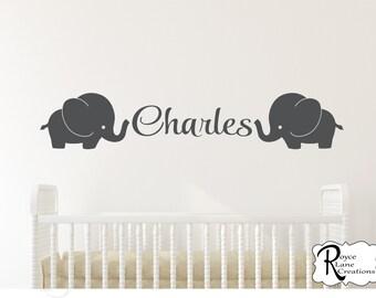Elephant Decal with Name Elephant Nursery Decal