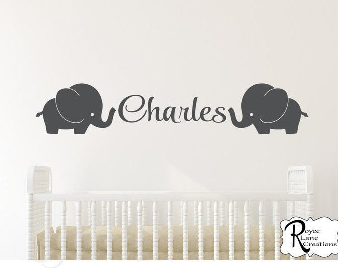 Elephant Decal with Name Elephant Nursery Decal