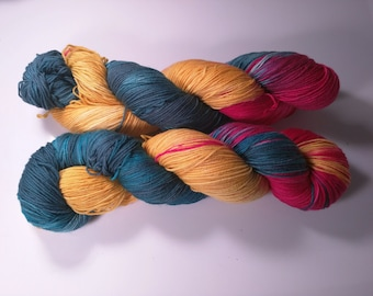 Ancient One on Lolo 75/25 SW Merino Nylon Hand dyed fingering weight sock yarn