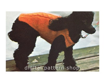 Knit Dog Sweater Pattern Cabled Dog Coat Knitting Pattern Dog DIY Instant Download K77
