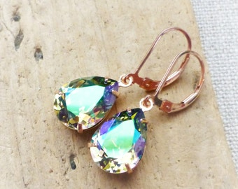 Rainbow Prism Earrings, Rose Gold Earrings, Rose Gold Jewelry, 14K Rose Gold Leverbacks, Swarovski Crystal Rhinestone Teardrops, Gift
