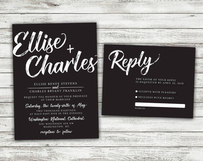 Black Wedding Invitations Set, Vintage Wedding Invitations, Rustic Wedding Invitation, Vintage, Black and White, Country, Modern