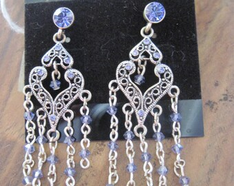Heirloom Antique Sterling Silver Swarvoski Amethyst Chandelier Stud Earrings  ..Hand Made...OOAK...103h...Bridal Wear/Special Times/All Year