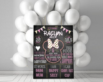 Minnie Mouse Birthday Decor - First Birthday Chalkboard - Totally Customizable!