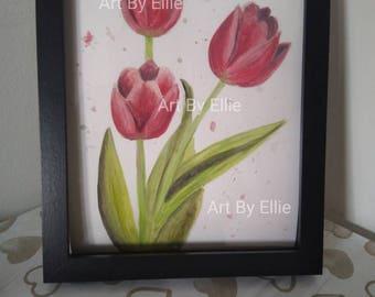 Original watercolour painting Tulips 8x10