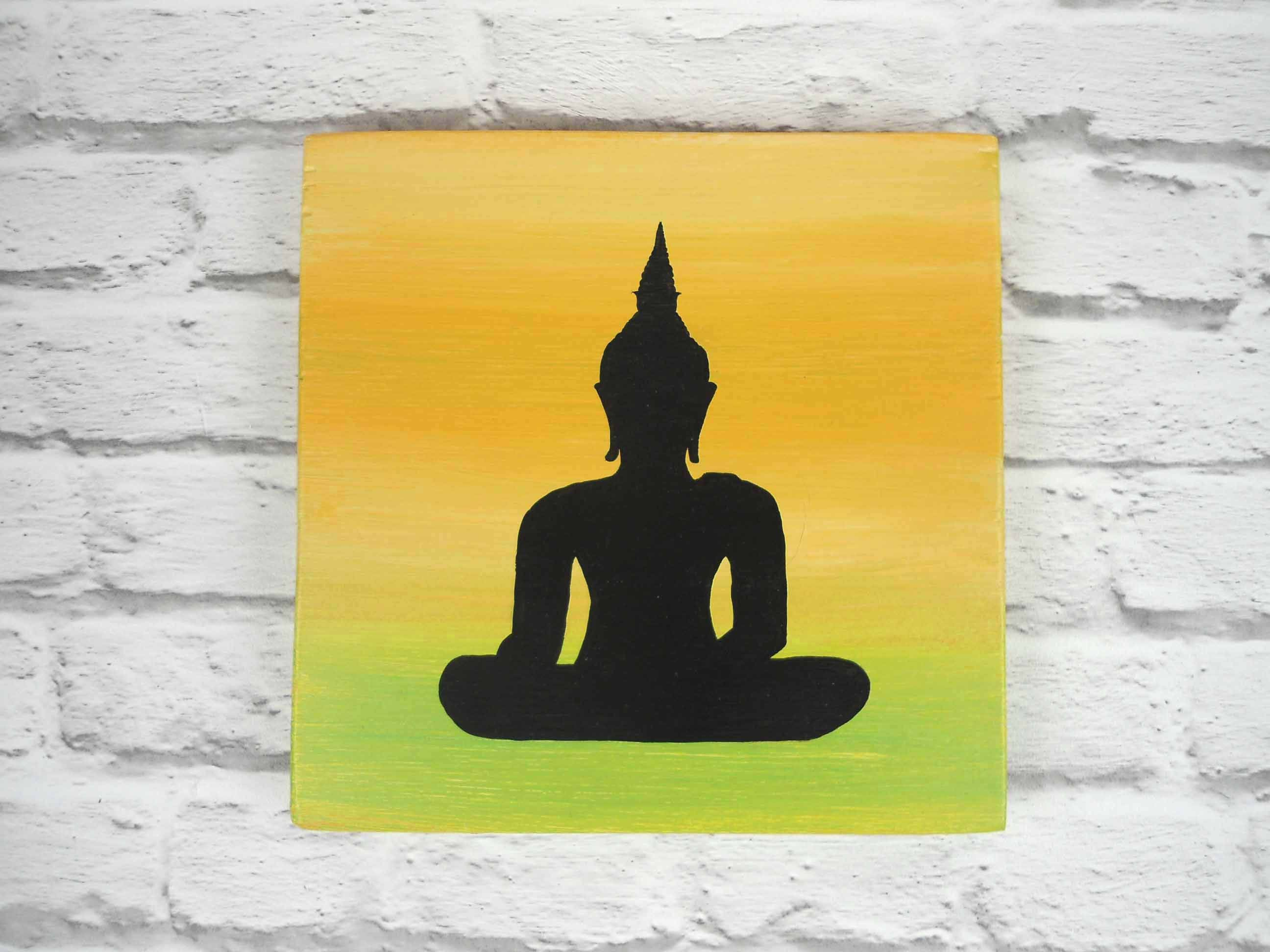 Buddha silhouette on wooden plaque Buddha wall decor