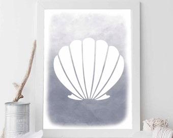 Grey Scallop Shell, Shell Print, Shell Decor, Nursery Decor, Nursery Print, Nautical Decor, Beach Decor, Beach Artwork, Shell Print