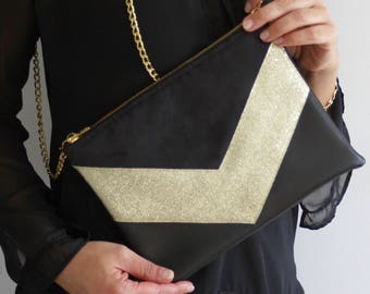 "Clutch bag ""TESS"" black and gold"