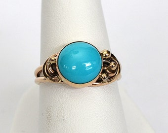 14kt 10mm Sleeping Beauty Turquoise Wire Sculpture Ring