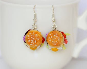 Hamburger Earrings - Junk Food Earrings - Junk Food Jewelry - Kawaii Earrings - Fast Food Jewelry - Miniature Food Jewelry - Gift For Her