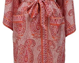 Long Kimono - Russian Paisley Rose - free size