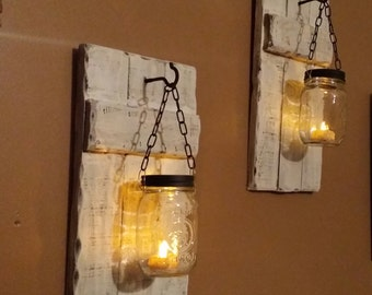 Mason Jar Candle holder set, Rustic distressed Candle holders, Hanging Candles, Sconces, On Sale 40.00 per set