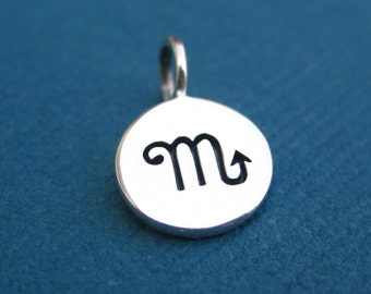 Sterling Silver Stamped Scorpio Zodiac Sign Disc Tag Charm