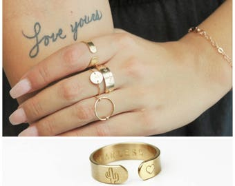 Gifts For Women, Gift for Wife, Personalized Ring, Gift for her, Initial, Custom Ring, The Silver Wren, Personalize Jewelry, Silver, Gold