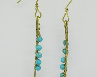 Crystal on Stick Earrings - Brass Turquoise