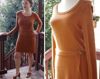 Hot COCOA 1980's 90's Vintage Reddish Brown Sweater Dress w/ Long Sleeves + Belt // size Medium