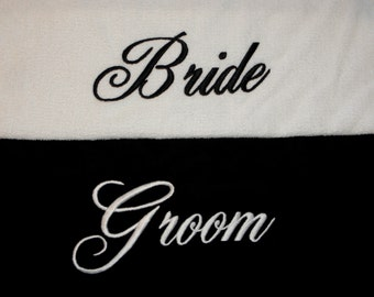 BRIDE & GROOM BEACH Towels with Canvas Tote Bag Black and White Embroidery 100% cotton terry velour Made To Order