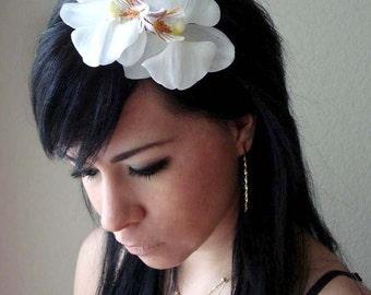 flower headband - white orchid flower headband - bohemian hair accessory - floral hair accessory - bridal flower hair piece - SUZANNE