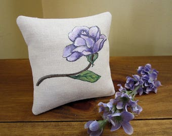 Hand Painted Lavender Sachet - Purple Rose