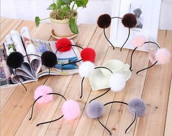 Faux fur Pom Pom headband