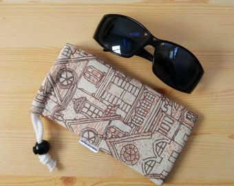 Glasses case,sunglasses case,printed pouch,canvas case,quilted glasses case,sunglasses cover,glasses bag,glasses soft case,brown glasses