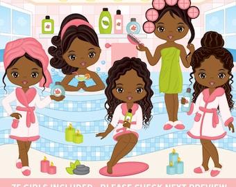 75 Spa Girls Clipart - Vector Spa Girl, Spa Party Clipart, African American Clipart, Pamper Clipart, Beauty Clipart, Spa Girl Clip Art