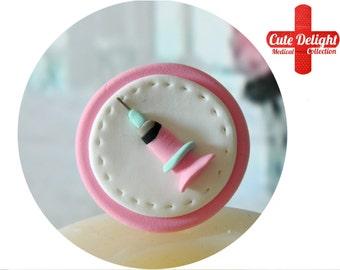 Pink syringe brooch, cute syringe,  Pink syringe, fimo syringe, polymer clay syringe, custom syringe brooch, syringe brooch, Syringe pin