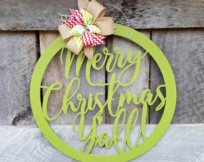 Merry Christmas Y'all Door Hanger - Christmas Wreath - Merry Christmas Wall Hanging