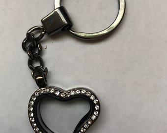 Floating locket Heart shaped keychain