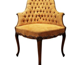 Vintage French Tufted Ladies Corner Arm Chair