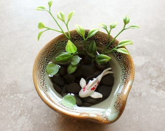 Miniature Koi Pond in Green Stoneware Dish / Terrarium / Fairy Garden Accessory / Tropical Home Decor