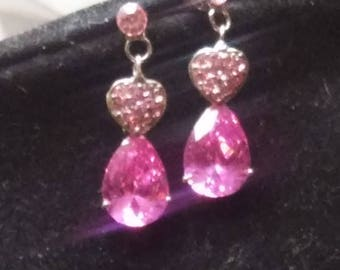 Silver Plated  Dangle Earrings With Pink Swarovski Crystal And Pink Rhinestones
