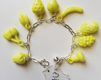 """Vintage inspired from 1940s """"Tutti Frutti"""" on sterling silver 925 bracelet (yellow)"""