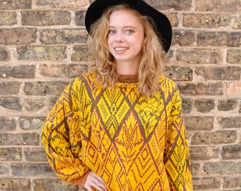 Extra-Long Aztec Print Sweater // 90's Yellow Geometric Sweater